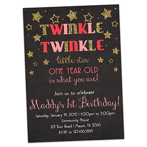 Amazoncom Pink Twinkle Little Star 1st Birthday Invitation Gold