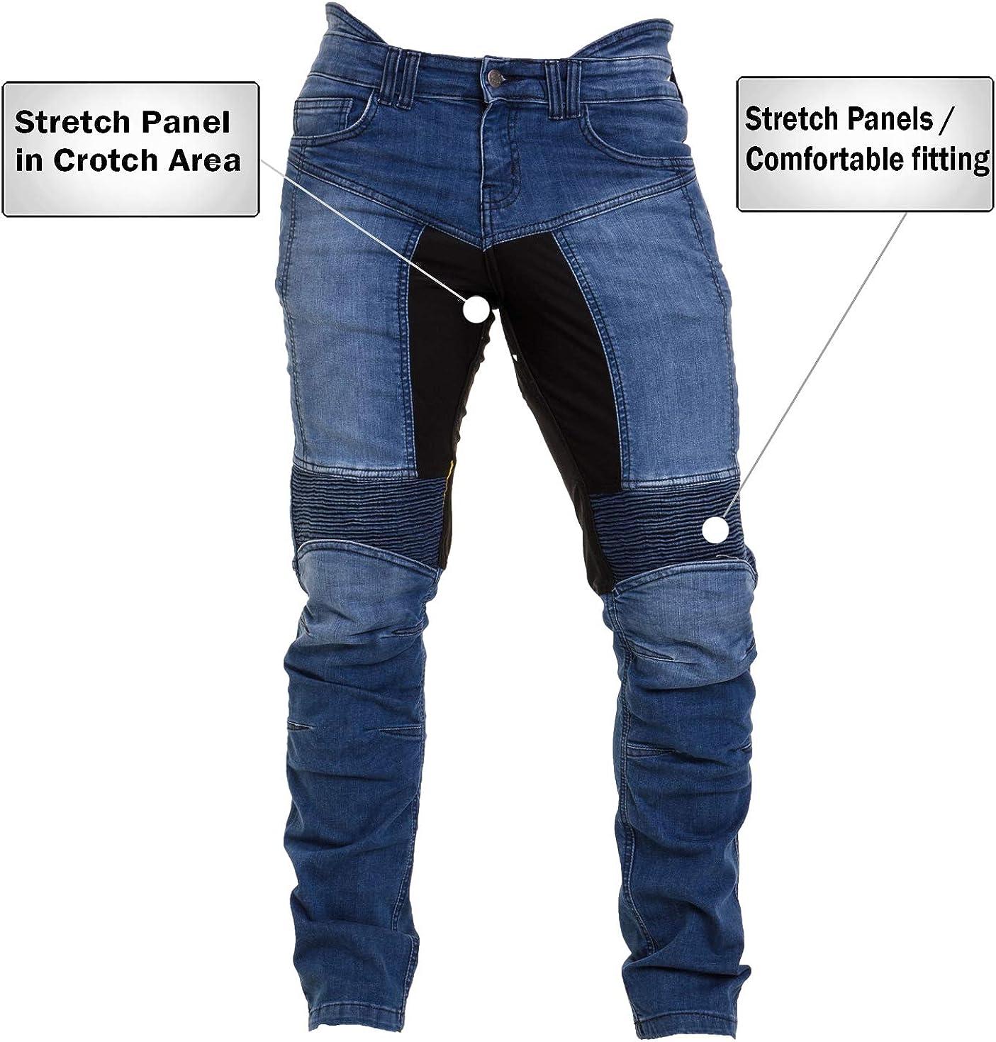Qaswa Herren Motorradhose Jeans Motorrad Hose Motorradr/üstung Schutzauskleidung Motorcycle Biker Pants