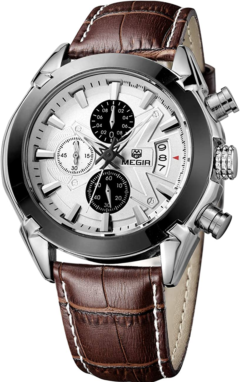 Megir - Reloj de Pulsera analógico con cronógrafo para Hombre, Estilo Militar, Impermeable, multifunción, de Piel Casual, Cuarzo, para Hombre, Trabajo, Oficina, al Aire Libre