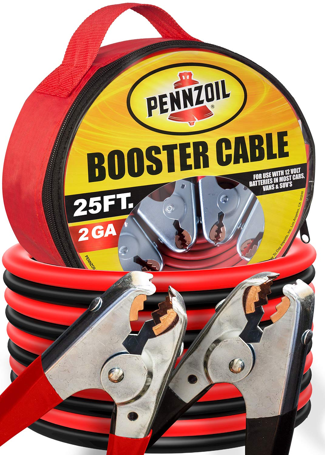 Pennzoil Jumper Cable (2-Gauge x 25-Foot) w/Carry Bag - 500-AMP Heavy Duty Battery Booster by Pennzoil