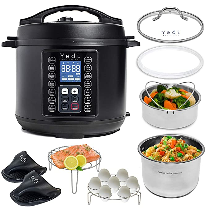 Yedi 9-in-1 Total Package Instant Programmable Pressure Cooker, Slow Cooker, Rice Cooker, Yogurt, Sauté, Steamer. Deluxe Accessory Kit, Recipe Book, Cheat Sheets, 2-Year Warranty, 6 Quart, Black. best pressure cooker