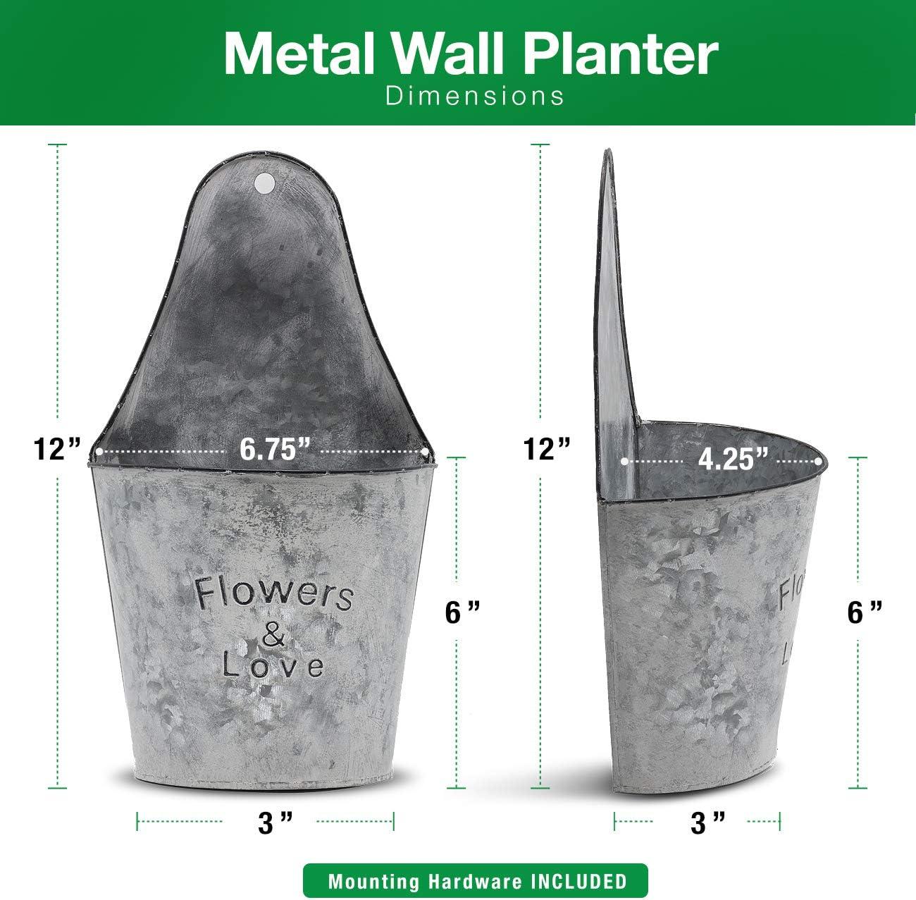 Dekoration verzinkt Vintage-Stil halbrund h/ängende Pflanzgef/ä/ße Wand-Blumen-Halter Sorbus Wand-Blumentopf aus Metall rustikaler Landhausstil