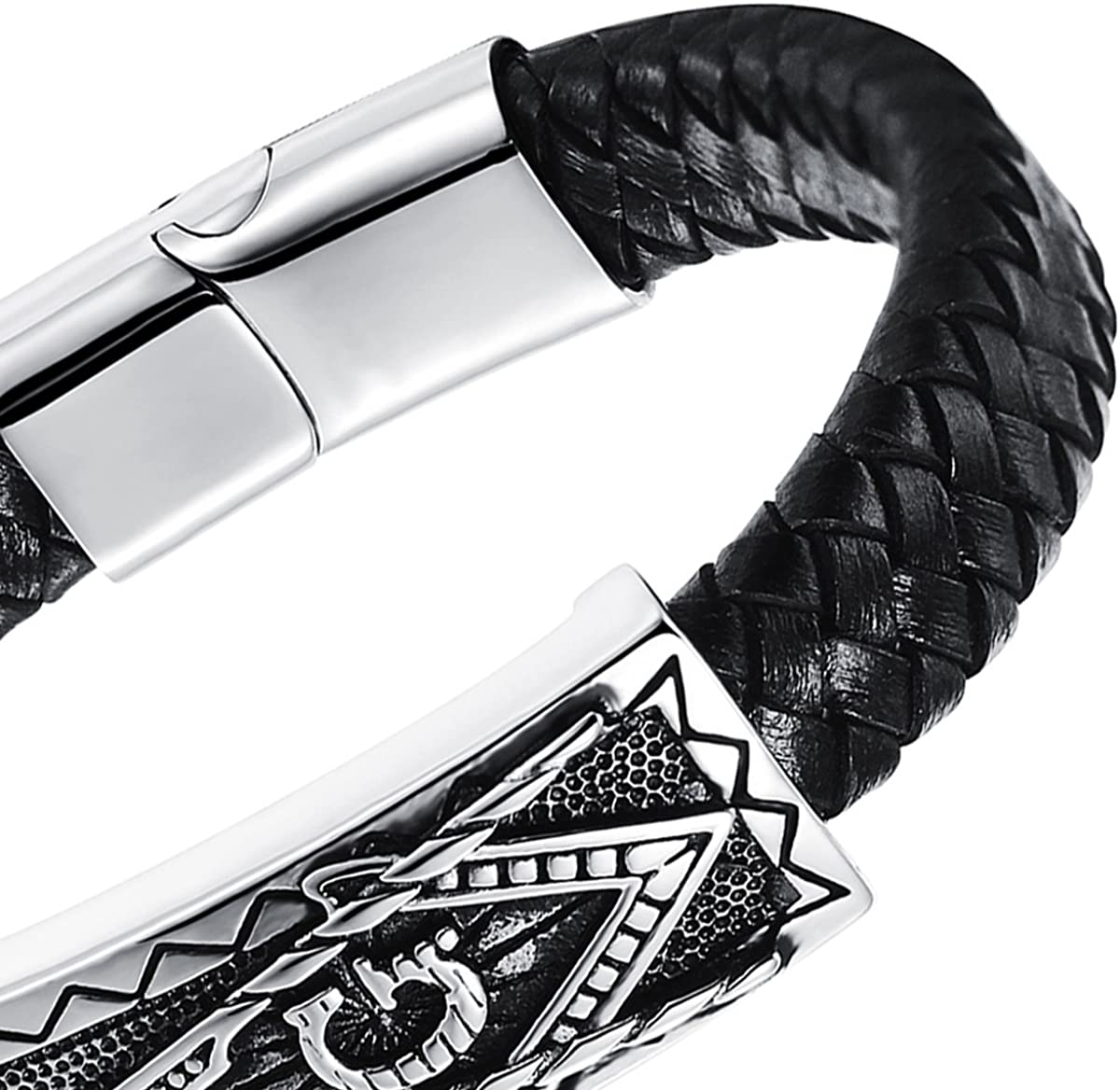 Oidea Mens Punk Rock Woven Leather Braid Cuff Bracelet Stainless Steel Push Button Claps 8.3