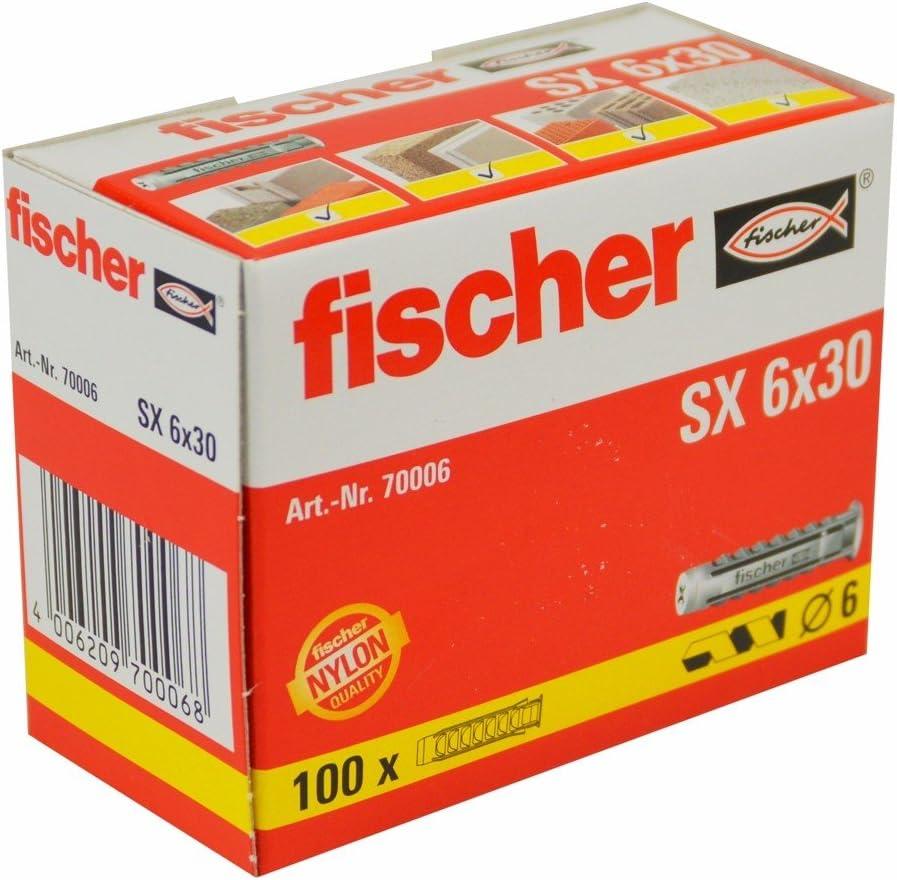 Kunststoff D/übel SX6x30, f/ür Vollbaustoffe, Lochbaustoffe, Beton 100x Qualit/äts Nylon Spreizd/übel
