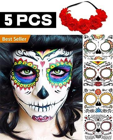 27716545d7595 Amazon.com : BenRan 5PCS Day Of The Dead/Dia De Los Muertos Costume ...