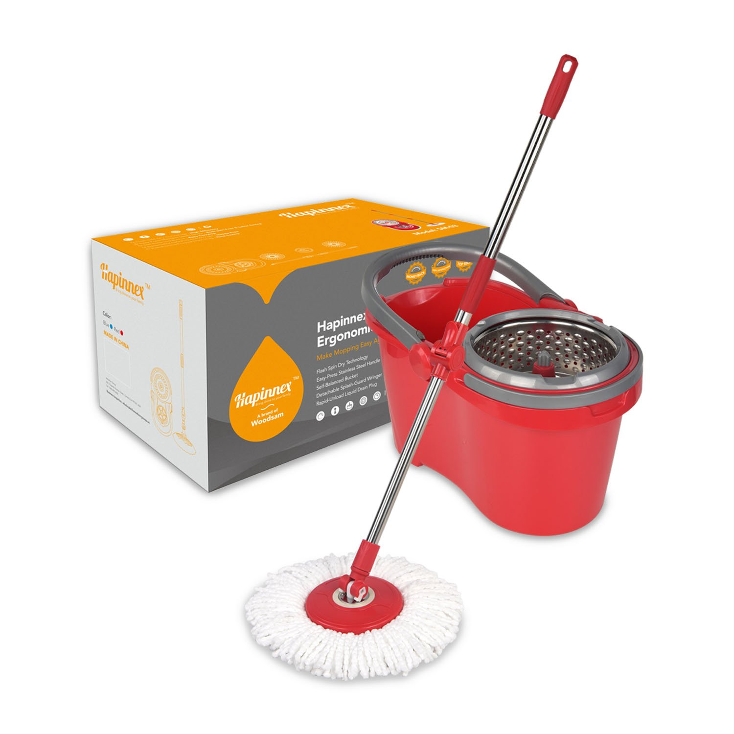Hapinnex Spinning Mop Bucket Set - For Home Kitchen Floor Cleaning - Wet/Dry Usage on Hardwood & Tile - Upgraded Self-Balanced System With 2 Washable Microfiber Mop Heads Replacements