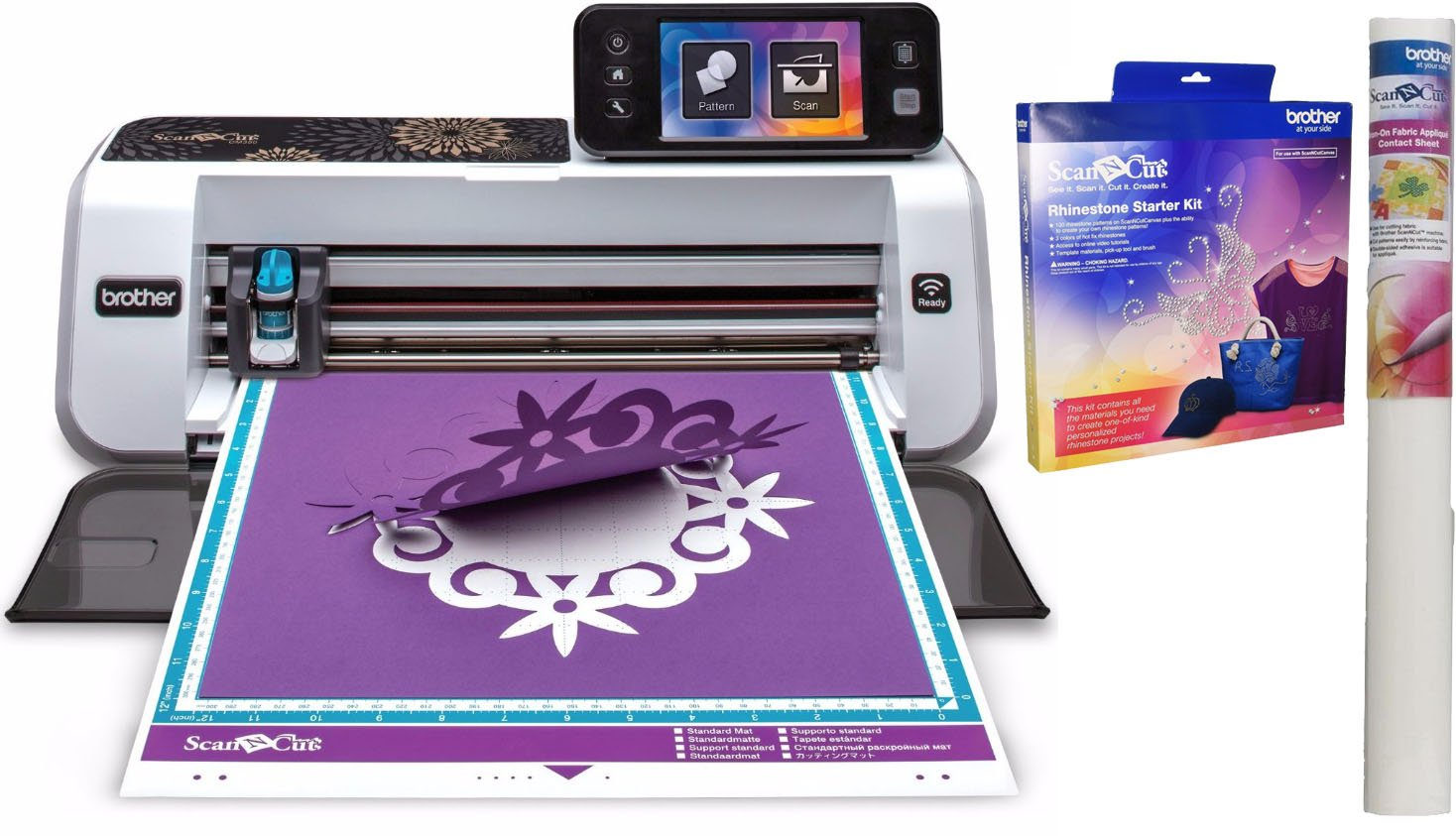 Brother ScanNCut2 CM350 Scanner & Cutting Machine Fabric Applique & Rhinestone Kit Bundle