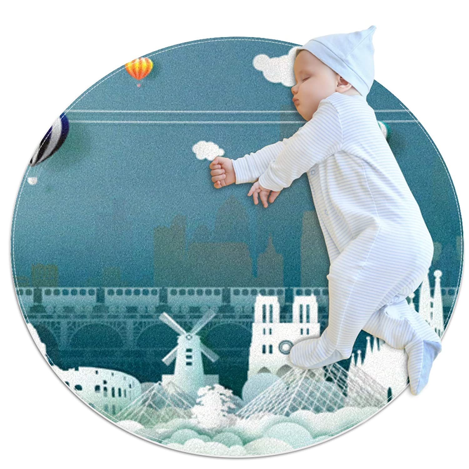Castle hot air Balloon Windmill Round mat Round Area Rug Art Decor Anti-Slip Machine Washable Children Play pad Living Room Bedroom Oriental Study playroom Super-Soft Carpet 27.6x27.6IN