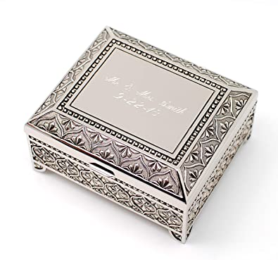 amazon com newfavors personalized jewelry box with 3 lines text