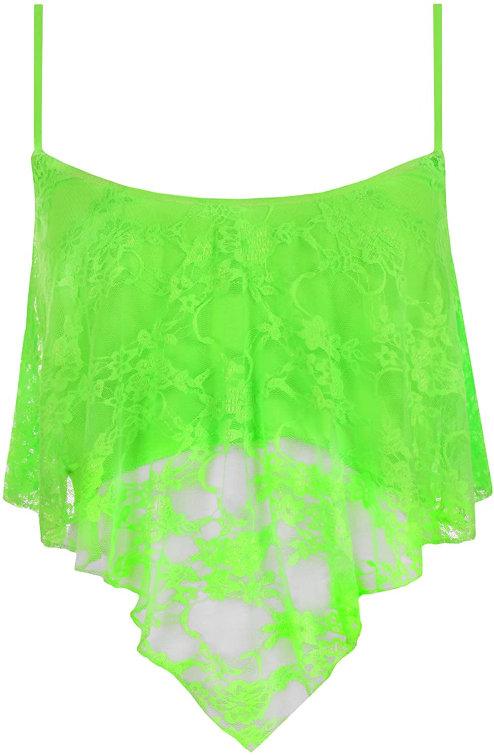 WearAll Womens Floral Lace Handkerchief Strappy Vest Camisole Crop Top 45079