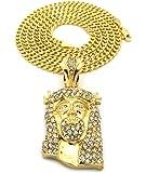 Collier de ton or à pendentif de Jésus, décoré de pierres de Strass, chaîne Cuban coupé diamant l.3 mm L.76 cm