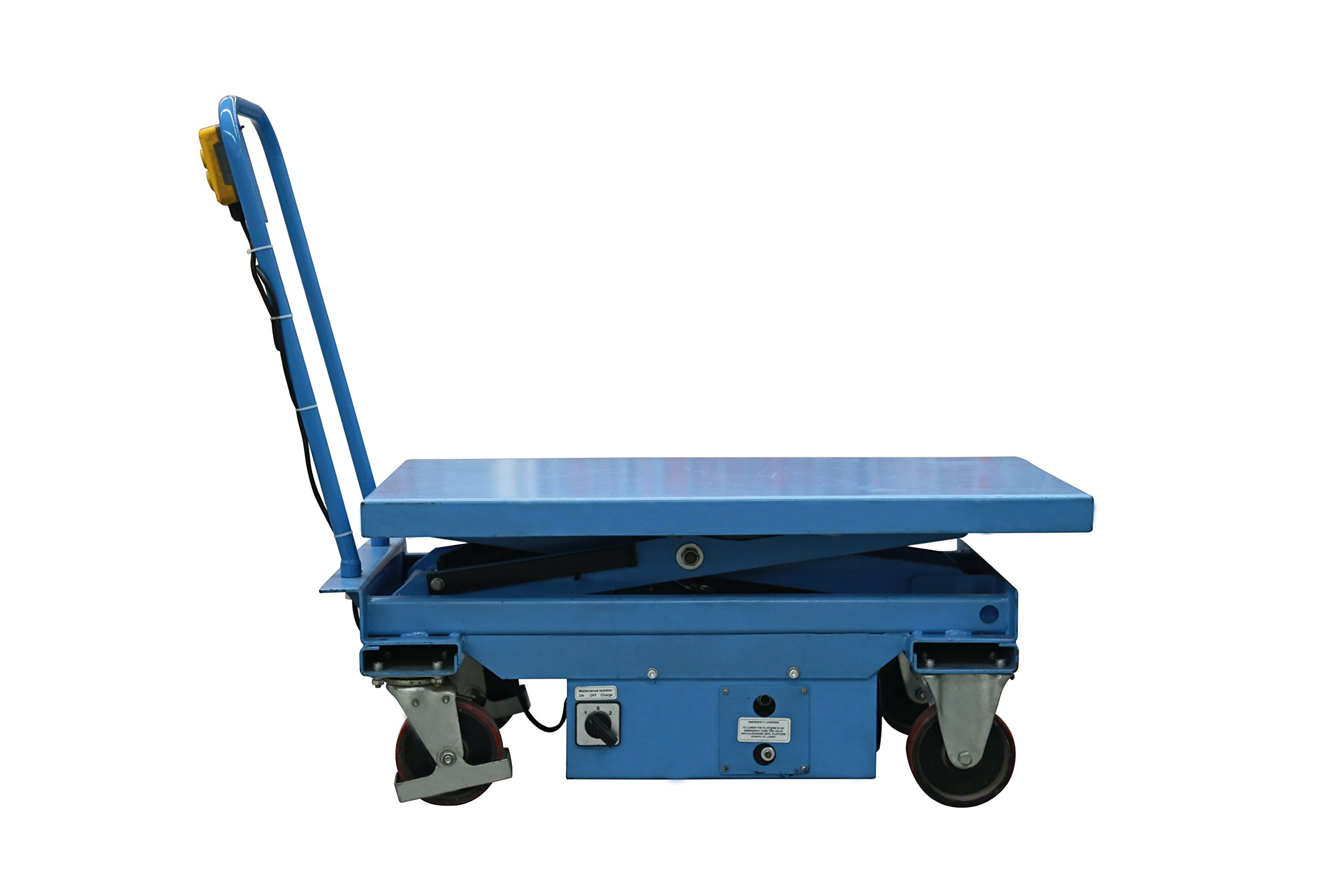 Eoslift Electric / Powered Heavy Duty Mobile Hydraulic Dual Scissor Lift Cart / Table 1650 Lb. Capacity Durable and Reliable Suitable For Warehouse, Factory, Shop or Office.