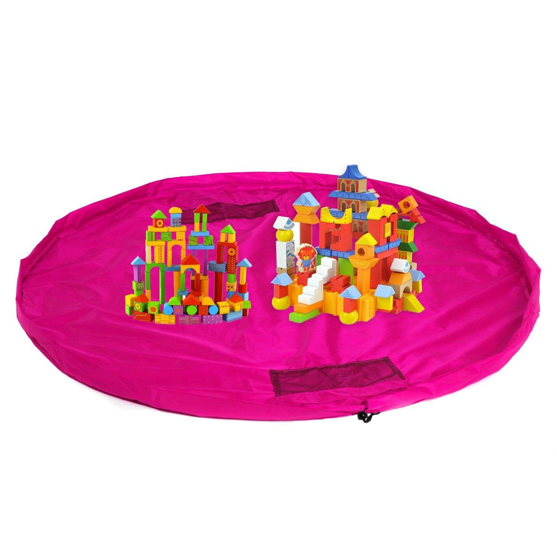 HIMRY® Estera del juego y juguetes almacenamiento bolsa, XXL alfombra, niños jugar Mat. Rápidamente limpieza organizador del almacenaje, portátil al aire libre manta actividades alfombra, Pink, KXD4005 pink KXSHOP