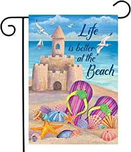 "Briarwood Lane Life is Better at The Beach Summer Garden Flag Sandcastle Nautical 12.5"" x 18"""