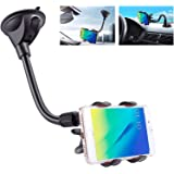 IPOW Upgraded X-Shaped Double Clamp Universal Long Shockproof Arm Phone Car Mount Windshield/Dash With Strong Suction Cup,Cel
