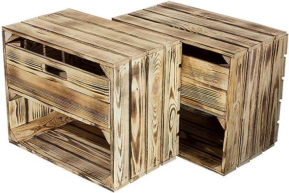 moooble - Caja de Madera flameada con cajón, 50 x 40 x 30 cm: Amazon.es: Juguetes y juegos