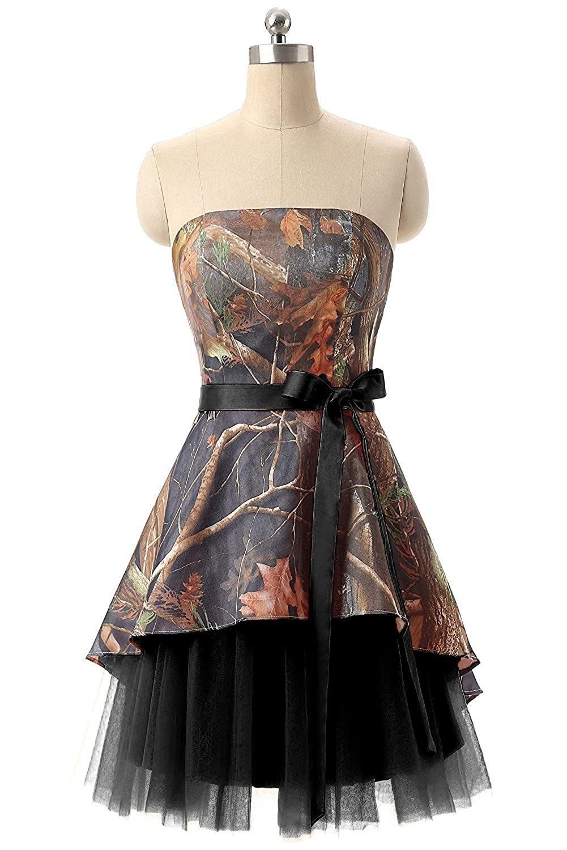 Black APXPF Women's Short Strapless Camo Bridesmaid Prom Dress Wedding Party Gown