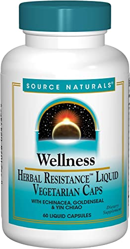Source Naturals Wellness Herbal Resistance Liquid Immune Defense Supplement Immunity Booster with Echinacea, Elderberry Yin Chiao – 60 Veggi Caps