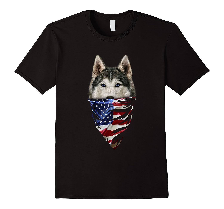 T-Shirt, Siberian Husky Dog, Patriotic America Bandana, USA