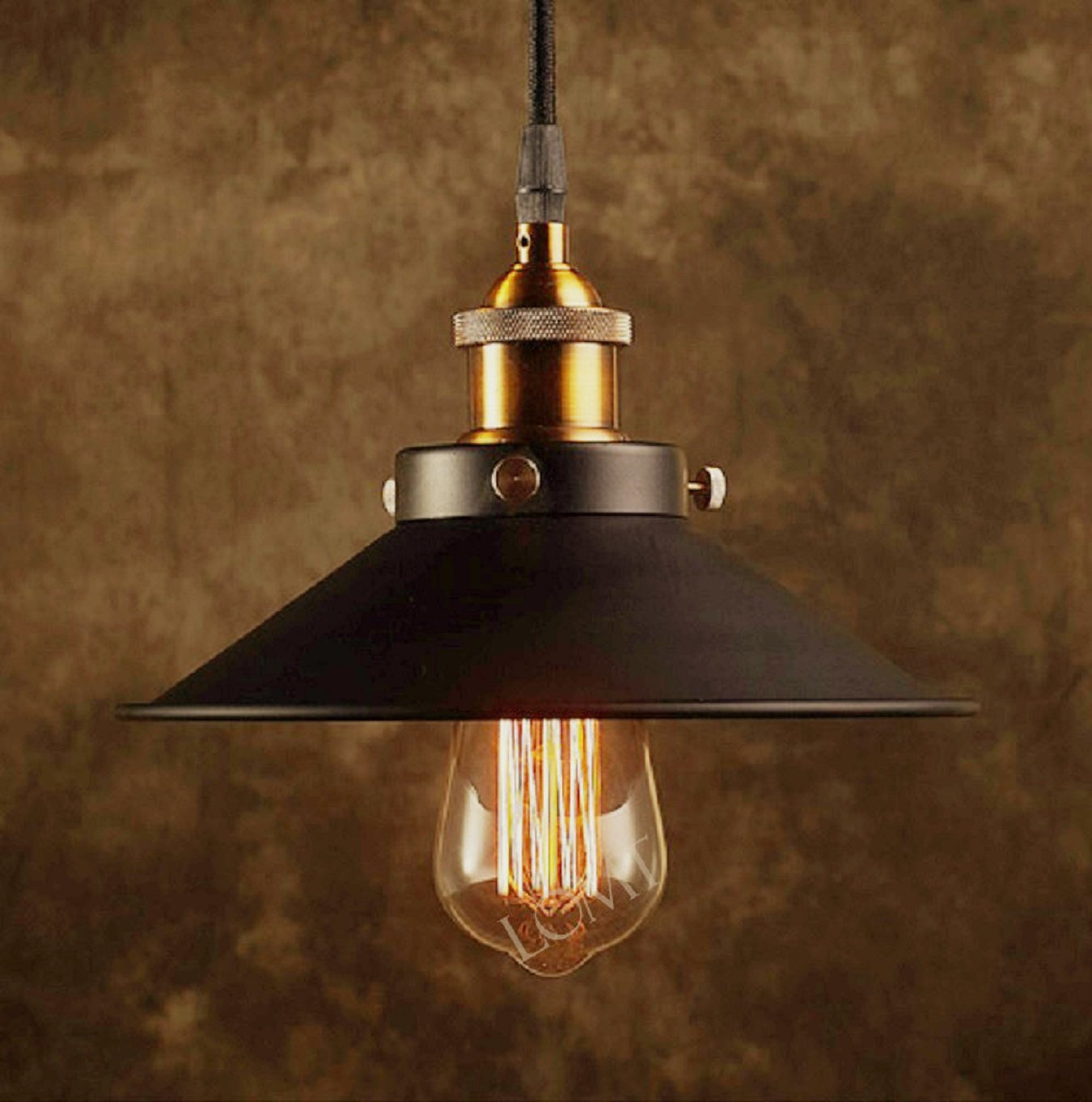 Modern black metal shade ceiling light with a bronze vintage lamp modern black metal shade ceiling light with a bronze vintage lamp holder a unique industrial pendant light create the perfect atmosphere for bar aloadofball