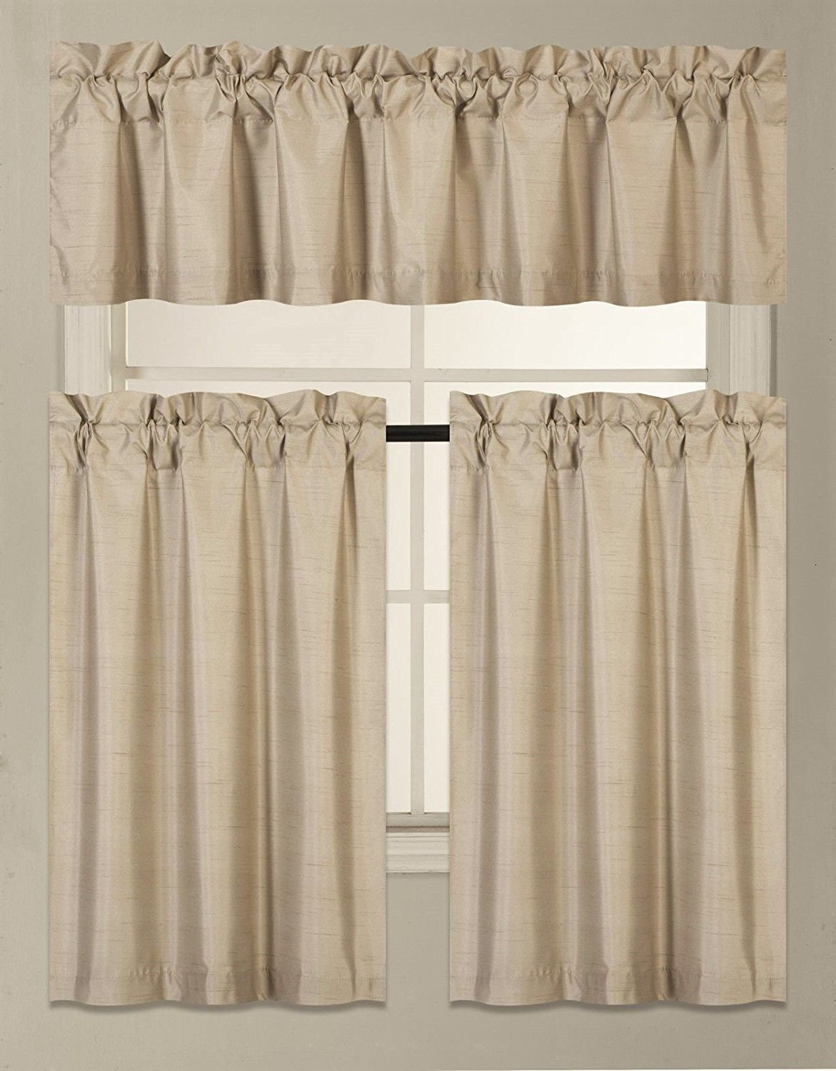 Elegant Home Collection 3 Piece Solid Color Faux Silk Blackout Kitchen Window Curtain Set with Tiers and Valance Solid Color Lined Thermal Blackout Drape Window Treatment Set #K3 (Taupe)