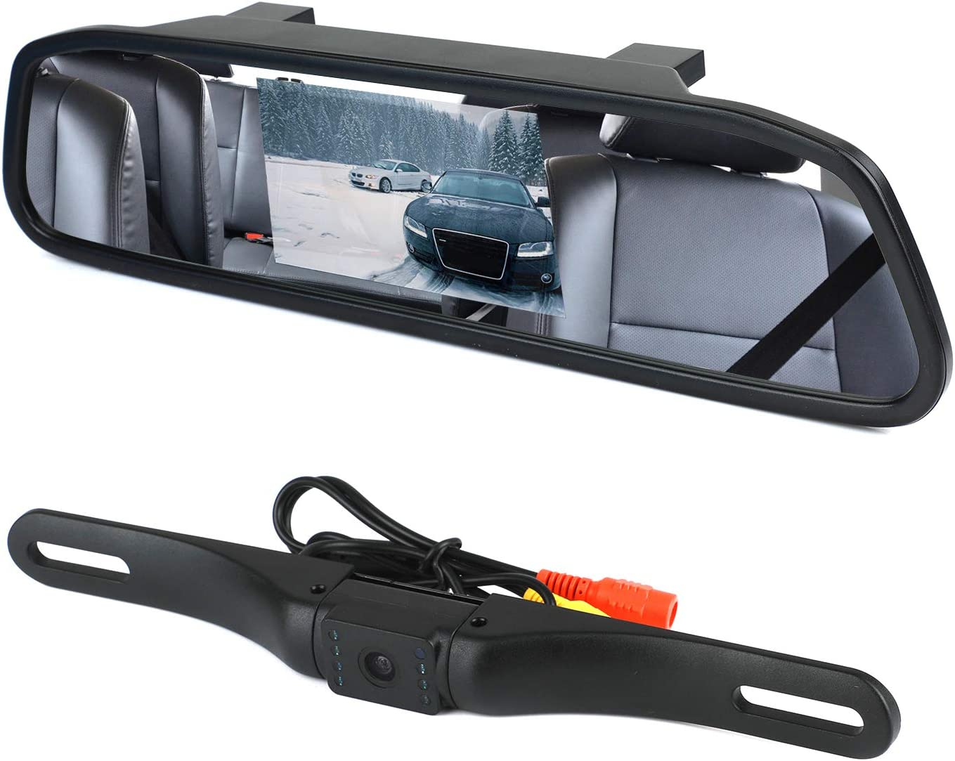 "WEIKAILTD Backup Camera and Monitor Kit, 4.3"" Car Vehicle Rearview Mirror Monitor for DVD/VCR/Car Reverse Camera Waterproof Car License Plate Rear View Camera (4.3"" Backup Camera and Monitor Kit)"