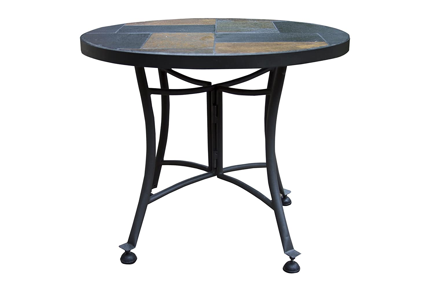 Outdoor Interiors Slate Mosaic Accent Table with Metal Base, 24-Inch, Charcoal