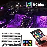 Car Interior Lights 4pcs 36 LED Car Floor Atmosphere Glow Neon lights Multi-Color Music Car LED Strip Lights Decorative…