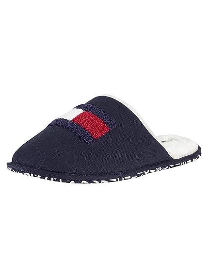 TOMMY HILFIGER Pantofole blu in ecopelliccia con logo