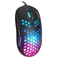 PICTEK Ratón Gaming Programable, Ratón RGB de Diseño de Panal, 6 Botones, 10000 dpi,Ratón para Juegos con Cable para…