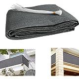 Brise-vue pour balcon, protection UV, tissu opaque pour balcon résistant aux intempéries avec serre câbles, tissu PEHD de 5 mètres (90x500) Gris