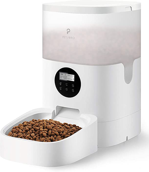 PETLIBRO Automatic Cat Feeder, Transnsparent Timed Cat Feeder with Desiccant Bag for Dry Food, Programmable Portion Control 1-4 Meals per Day & 10s Voice Recorder for Small / Medium Pets (4L)