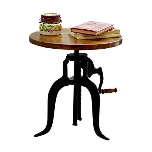 Carolina Chair and Table Brook Adjustable Crank Accent Table, Chestnut Black