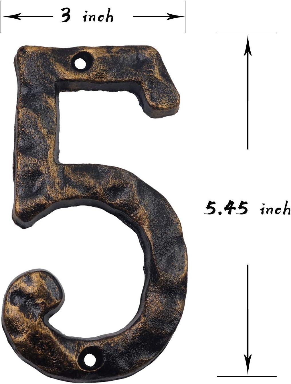 Aspect marteau unique avec finition en laiton vieilli En fonte solide Num/éro d/'adresse de maison 15,2 cm Number 8