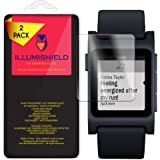 Pebble 2 Screen Protector [2-Pack], iLLumiShield HD Clear Tempered Ballistic Glass Screen Protector for Pebble 2 9H Hardness Anti-Bubble Shield