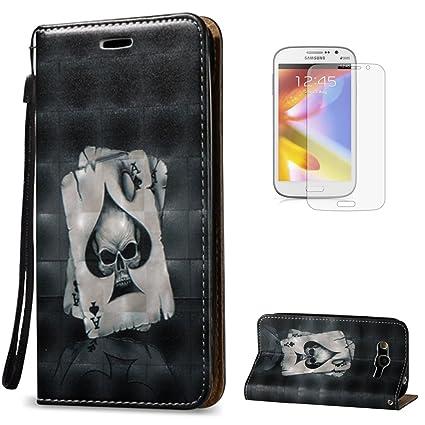 KaseHome 3D Patrón Efecto Samsung Galaxy Grand Neo Plus i9060/i9082 Wallet Funda(Con Protector de Pantalla Gratuito),Negro y Blanco Impresión Carcasa ...