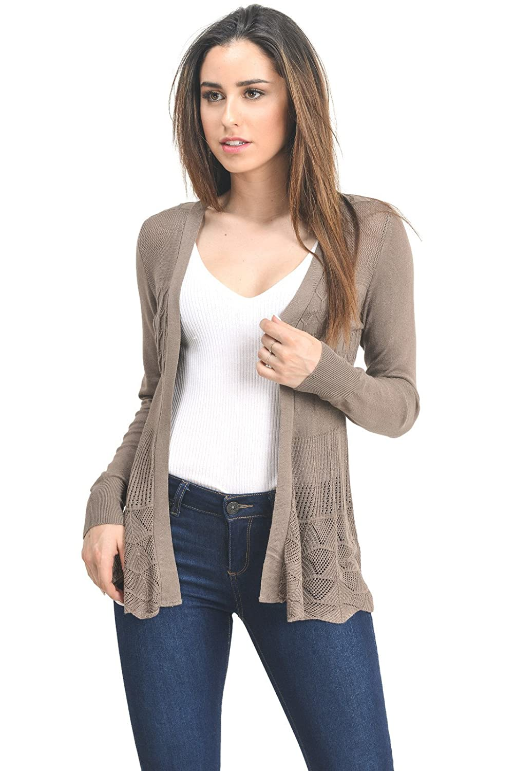 C09115 Mocha Instar Mode InstarMode Women's Long Sleeve Crochet Knit Sweater Draped Open Cardigan