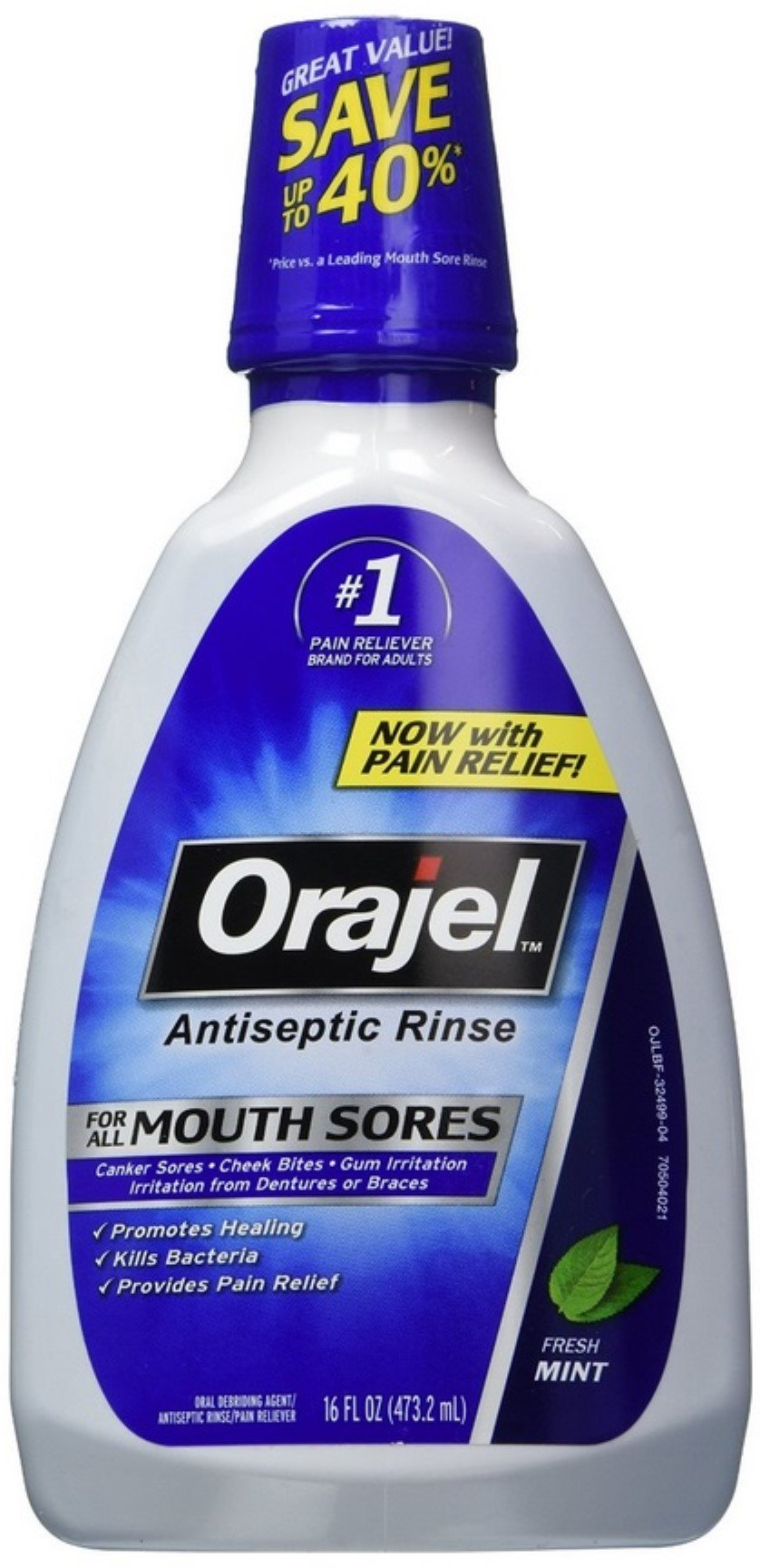 Orajel Antiseptic Mouth Sore Rinse 16 oz (Pack of 12)
