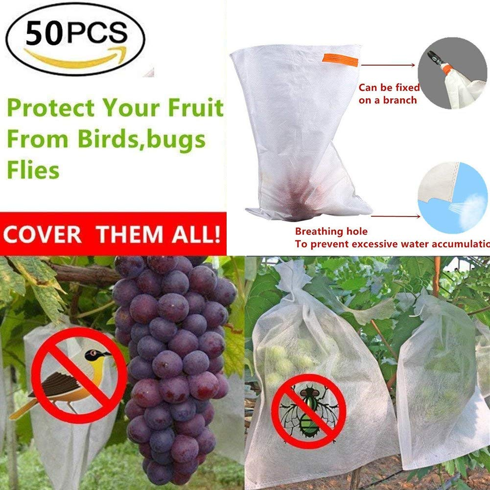 UPREDO 50pcs Fabric Fruit Plants Flowers Seeds Protection Netting Bags Prevent Birds Bugs Squirrels for Garden Farm