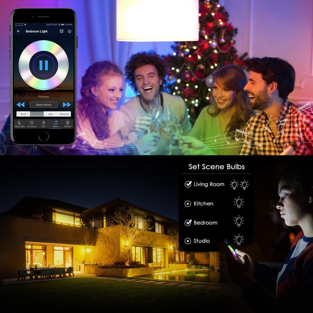 WiFi Bombilla de luz inteligente Color de color Luz LED regulable No se requiere un concentrador APLICACI/ÓN L/ámpara de control remoto para el hogar trabajo con  Alexa y Google