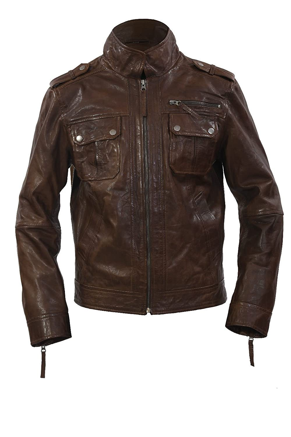 NATHAN MAN BROWN SHORT STYLE CASUAL NAPPA REAL SOFT LEATHER JACKETS