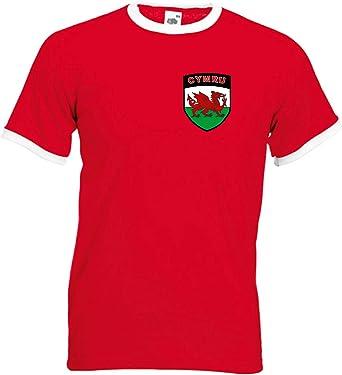 Camiseta Retro de Fútbol/Rugby con Blasón del equipo Nacional de Gales: Amazon.es: Ropa y accesorios