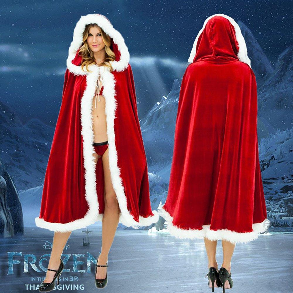 Interlink Weihnachten Bekleidung Weihnachtsmann Damen Weihnachtskostüm Weihnachten Kostüm Umhang Mantel Aus Samt Mit Kapuze Volle Länge 1.5m