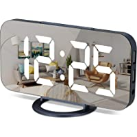 Digital Alarm Clock, Large Mirrored LED Display, with 2 USB Charger Ports,Auto Dim,Snooze Function, 7 Inch Modern Desk…