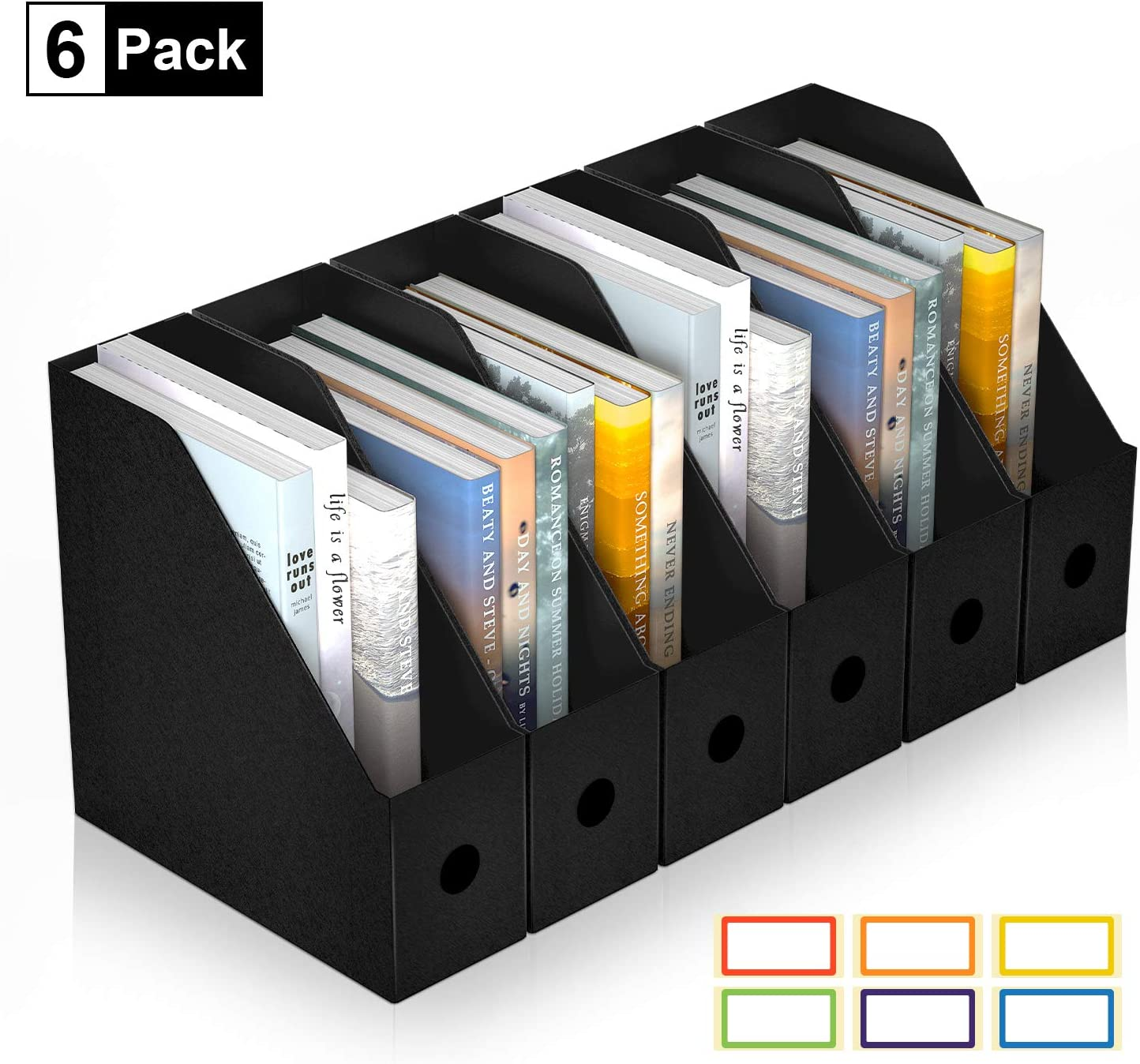 ABClife Plastic Foldable Black Magazine File Holder,6 Pack Desk Organizer with Colored Labels,Heavy-Duty Magazine File Boxes/Magazine Rack,Home Storage & Office Organization for Paperwork, Folders