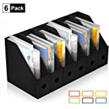 ABClife Plastic Foldable Black Magazine File Holder,6 Pack Desk Organizer with Colored Labels,Heavy-Duty Magazine File…