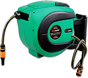 """ReelWorks Water Hose Reel Retractable Elite 1/2"""" Inch x 50' Foot Long Premium Commercial Flex PVC Hose Heavy Duty Spring Driven Industrial with PVC Nozzle and Quick Disconnects for Garden and Lawn"""