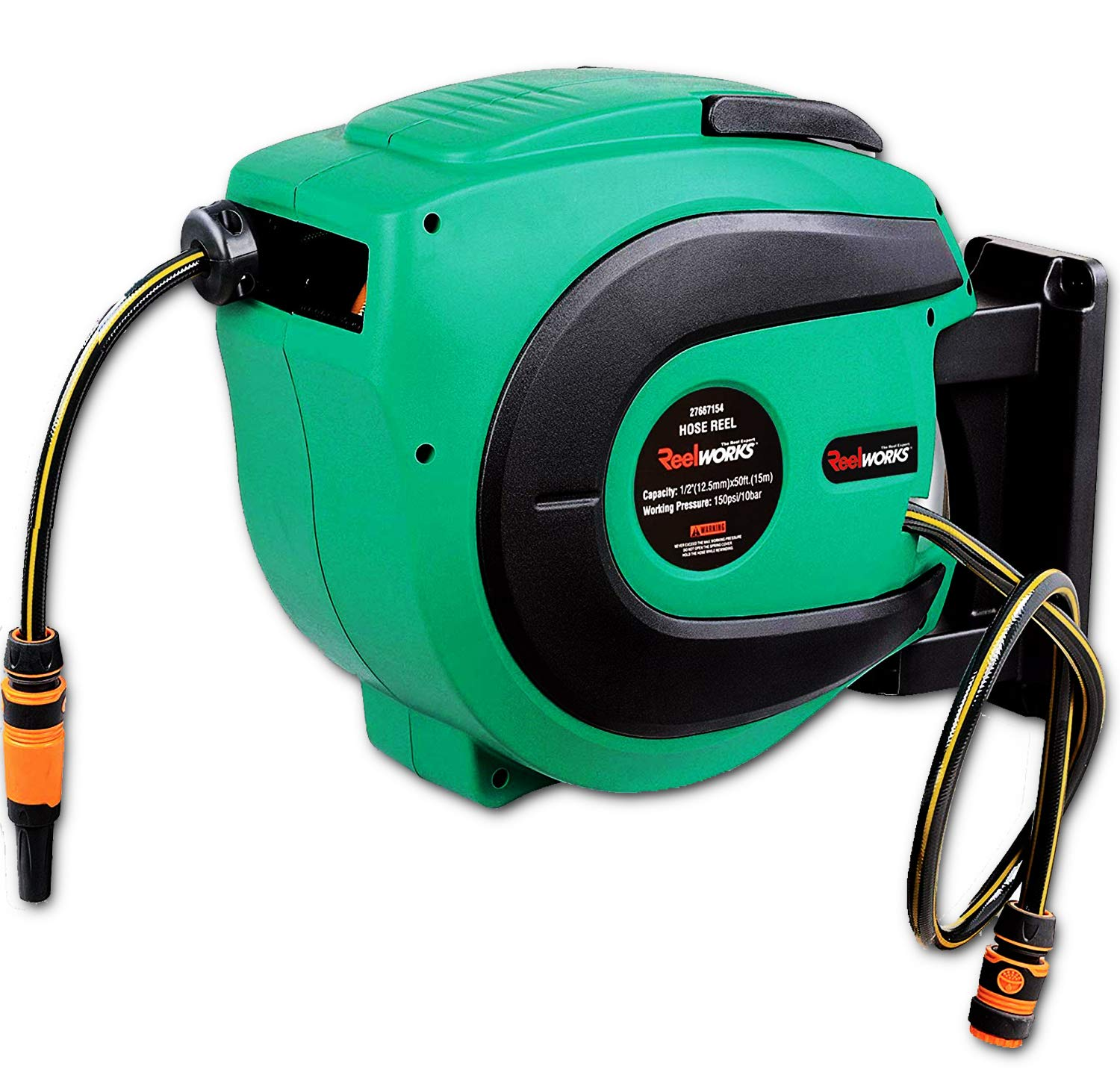ReelWorks Water Hose Reel Retractable Elite 1/2'' Inch x 50' Feet Long Premium Commercial Flex PVC Hose Heavy Duty Spring Driven Industrial with PVC Nozzle and Quick Disconnects for Garden and Lawn by ReelWorks