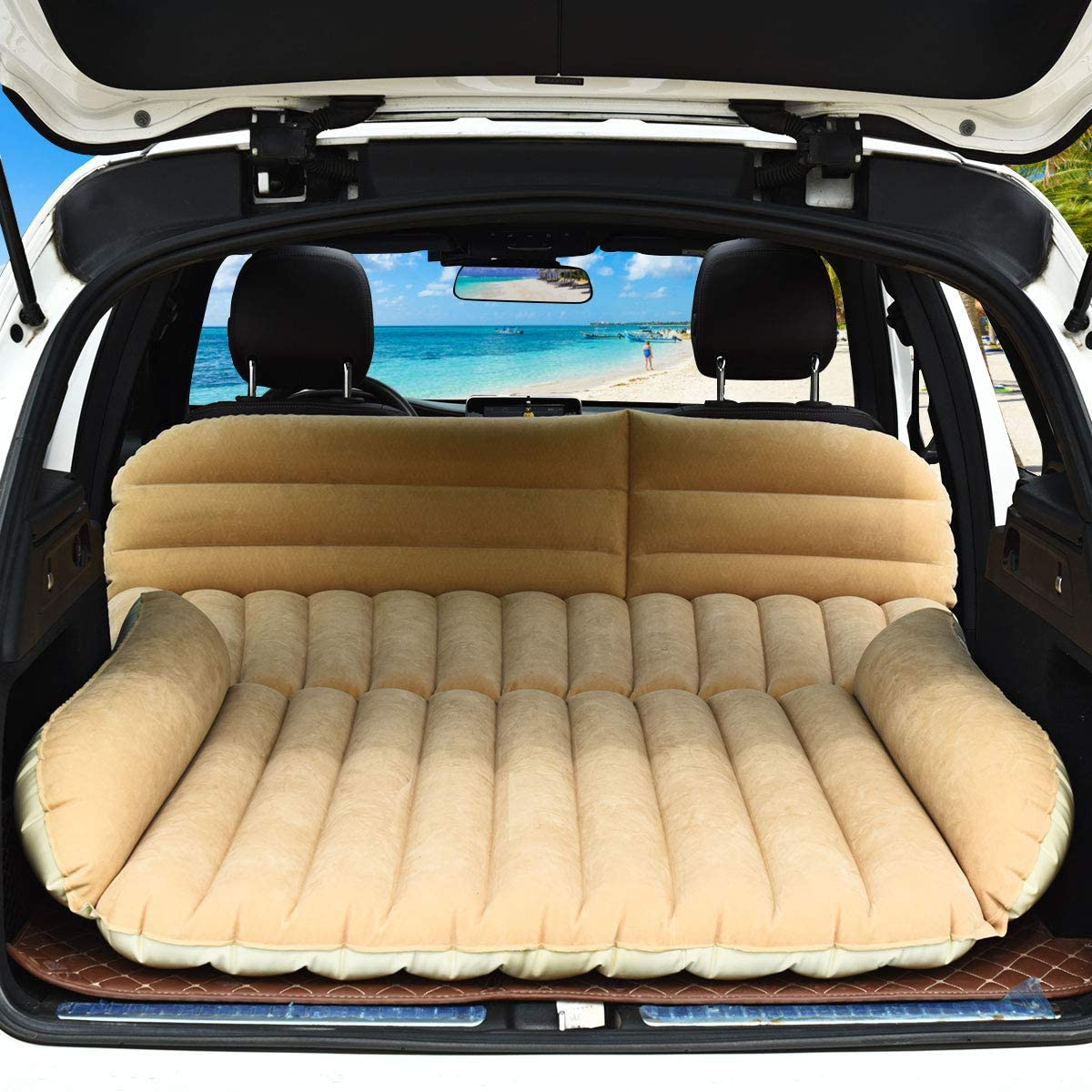 Goplus SUV Air Mattress for Back Seat, Inflatable Car Air Bed with Electric Air Pump Flocking Surface, Portable Car Mattress for Camping Travel, Thickened Home Sleeping Pad Fast Inflation