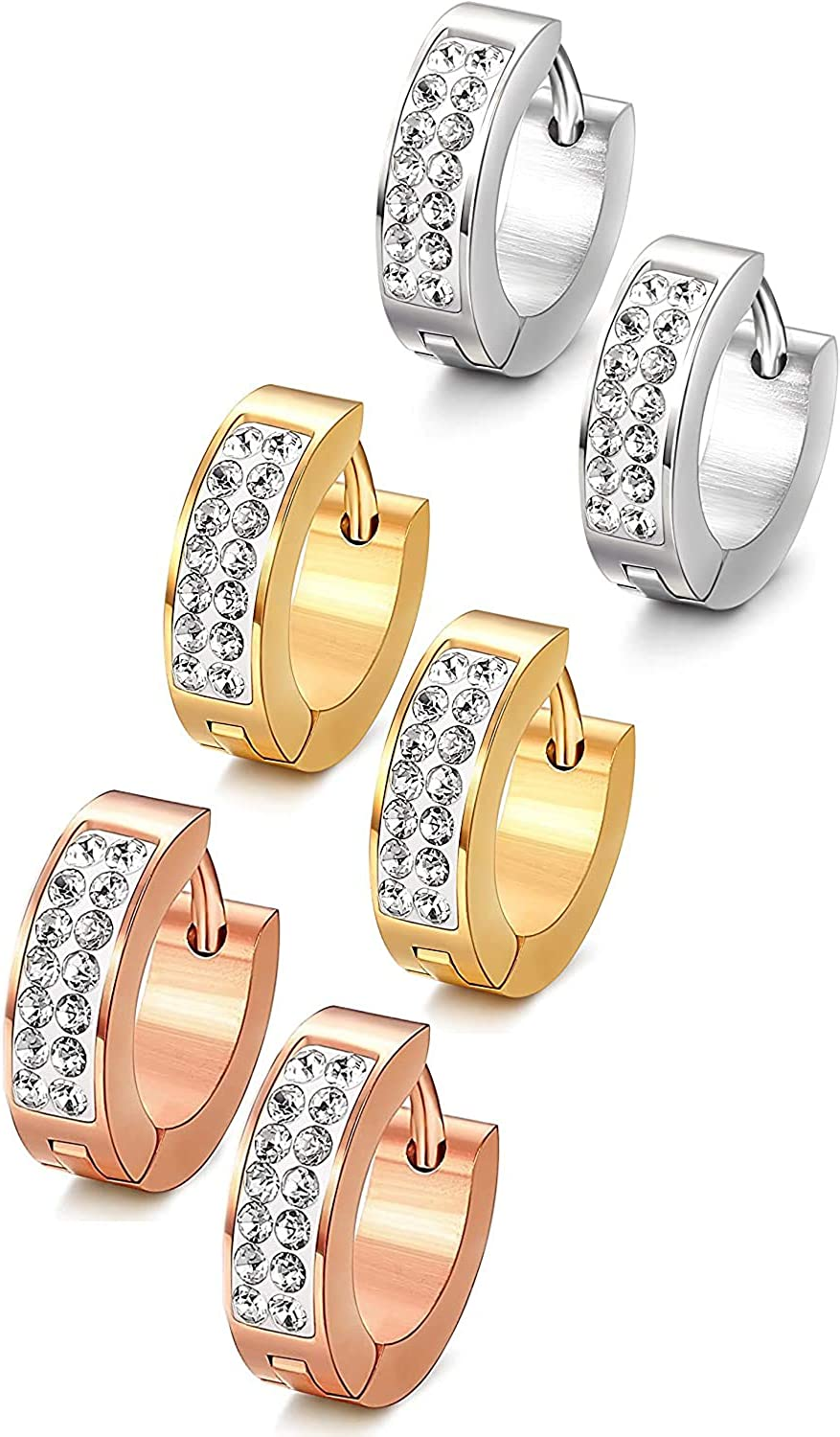 Jstyle Stainless Steel Womens Mens Hoop Earrings Huggie Earrings CZ Piercings 3 Pairs 18G